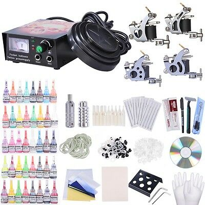 Complete Tattoo Kit 4 Top Machine Guns 40 Color Inks  20 Needle Power Supply