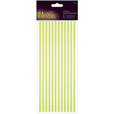 Papermania Neon Glitterations 3D Borders 12/Pkg Yellow PM818105