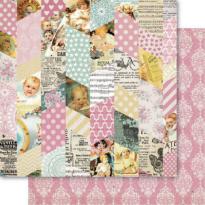 "Bella! Baby Girl Double Sided Cardstock 12""X12"" Montage TMG00"