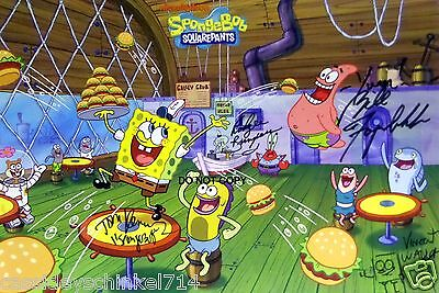 "SpongeBob SquarePants Reprint Signed 12x18"" Cast Poster RP Nickelodeon"