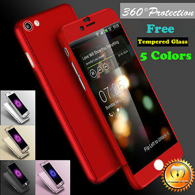 360° Hybrid Slim Acrylic Hard Case+Tempered Glass Cover For iPhone 6 6S 7 Plus