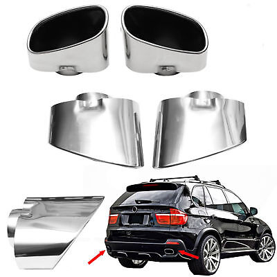 Chrome Sport Exhaust Pipe Muffler Tip Stainless Steel Set New Fits Bmw X5 Е70
