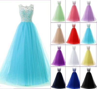 Long Lace Evening Formal Party Ball Gown Prom Bridesmaid Dress Size 6-22