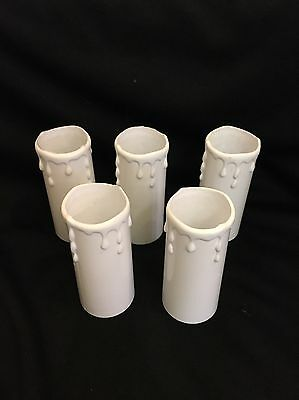 5 x New Candle drips candledrip lamp holder covers 80mm x 34mm white plastic