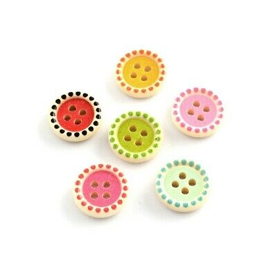Packet 30 x Mixed Wood 15mm Round 4-Holed Sew On Buttons HA10830