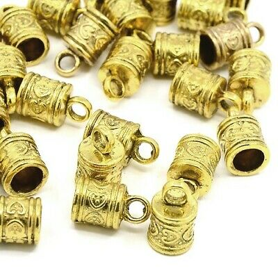 Pack of 10 x Antique Gold Tibetan 10 x 16mm Kumihimo Patterned End Caps HA12055