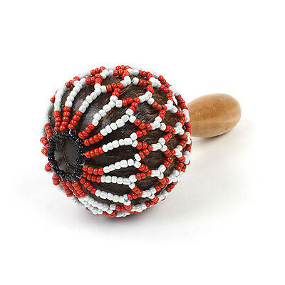 Z9V24 MUSICAL INSTRUMENT WOODEN AFUCHE CABASA 190 x 110MM WITH CHROMED BEADS