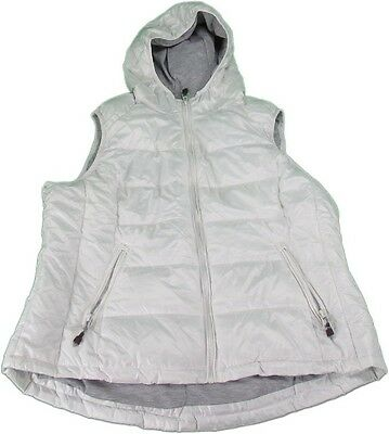 Tangerine Ladies Full Zip Quilted Vest with Hood, White
