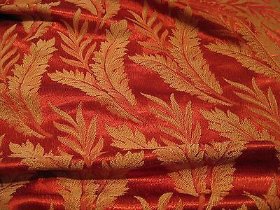 Vintage Glam Rosy Red Brocade Fabric Fern Leaves Upholstery 1930's Woven Damask