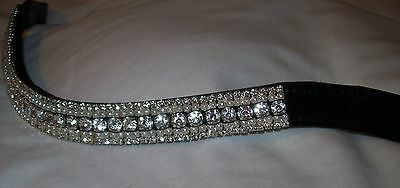 BLING!*Dressage*Mega-Sparkly Leather Browband*5-Row Crystals*CLEAR*3 Sizes