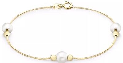 9ct Solid YELLOW GOLD Pearl and snake chain Bracelet 19cm UK + FREE Gift