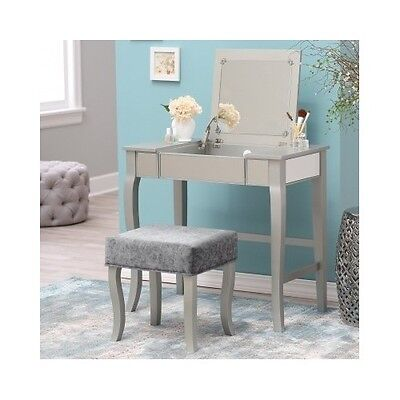 Marvelous Modern Vanity Desk Mirror Makeup Table Stool Set Silver Gmtry Best Dining Table And Chair Ideas Images Gmtryco