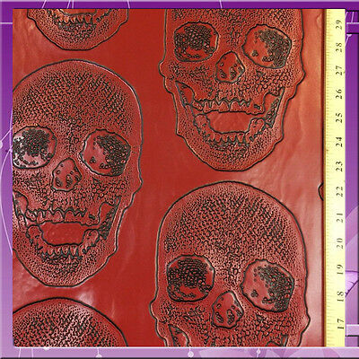 Skull Design Vinyl 58 Inches Wide Fabric Sold By The Yard Red