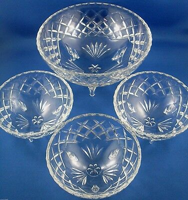 Diamond Cut Pattern Serving Bowls Set VG Rare Vintage Collectable - In Australia