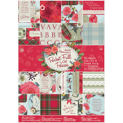 Papermania Ultimate A4 Die Cuts & Paper Pack 48/Pkg Pocket Full Of Posies PM1609