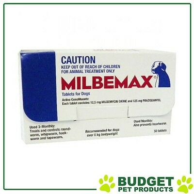 Milbemax Allwormer For Dogs Over 5kg 50 Tablets