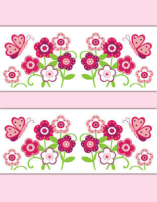 Butterfly Garden Wallpaper Border Wall Decals Raspberry Floral Girl Room Sticker
