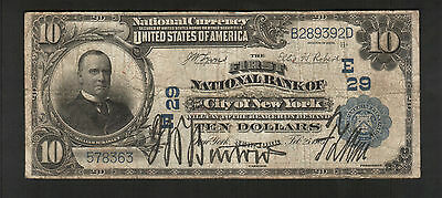 *** The First National Bank of NY, 1903, $10 Note, B289392D, FINE ++ ***