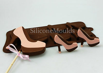 4+1 High Heels Ladies Shoes Silicone Chocolate Candy Cookie Bar Mould Lolly Pan