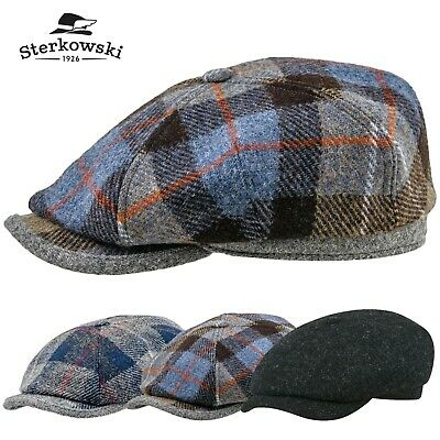 8909526814a21 Sterkowski RAMBLER Harris Tweed Flat Cap 4 Panels Applejack Retro Gatsby  Newsboy