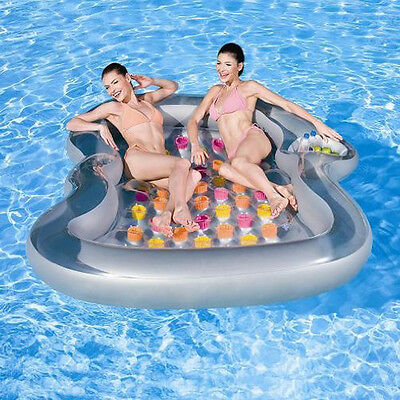 Inflatable Double Designer Lounger 2 Person Pool Chair Lilo Air Bed Mat Float