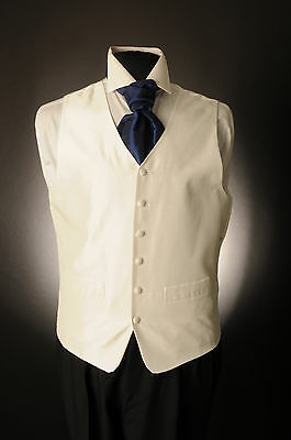 W-573 Mens Ivory Dupion Wedding Waistcoat Plain Shot Silk Effect Wedding/ Suit