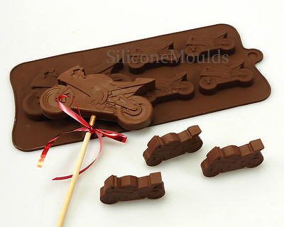 4+1 Motorbike Motorcycle Chocolate Bar Silicone Mould Lolly Party Bag Crayon Wax