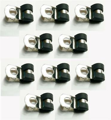"""10x 5mm Stainless Steel Rubber Lined P Clips For 3/16"""" Clutch, Brake Pipe"""