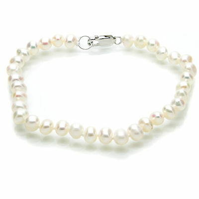 Freshwater Pearl Bracelet White Cultured Pearls Sterling Silver - Gift Bagged