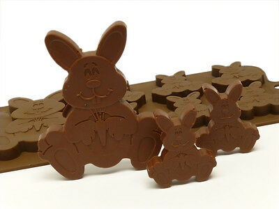 6+1 Easter Bunny Rabbit Chocolate Silicone Bakeware Mould Soap Crayon Wax Resin