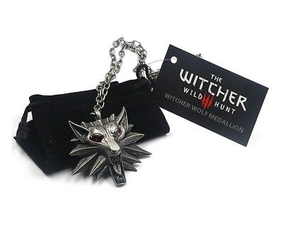 Witcher 3 Wild Hunt Wolf Metal Pendant Medallion & Chain Necklace w/ Pouch Bag