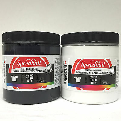Speedball Waterbased Fabric Screen Printing Textile Ink 2x 236ml Starter Pack