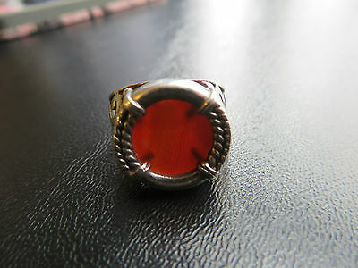 SILPADA - R0899 - Silver Ring with Carnelian Cabochon Stone, Size 8 - RARE!