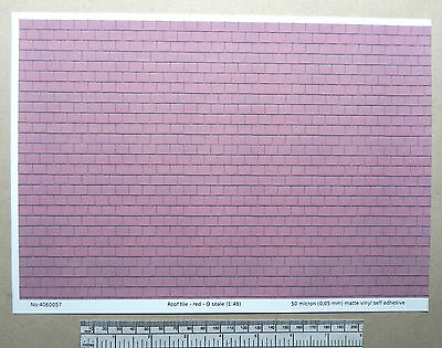 O gauge (1:48 scale) red roof tile self adhesive vinyl - A4 sheet (297X210mm)