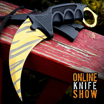 CSGO GOLD TIGER TOOTH FIXED BLADE TACTICAL KARAMBIT Survival Hunting Neck Knife
