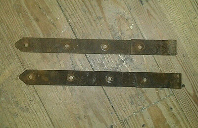 "Pair of Vintage Rusty Strap Hinges Cast Iron 1-3/4"" X 18"" Length Barn Door Hinge"