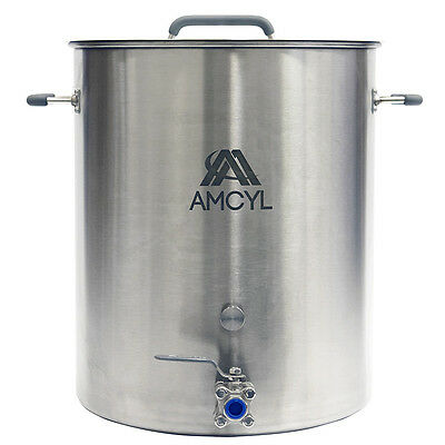 15 Gallon Professional Stainless Steel Kettle with Lid, Valve & Accessory Port