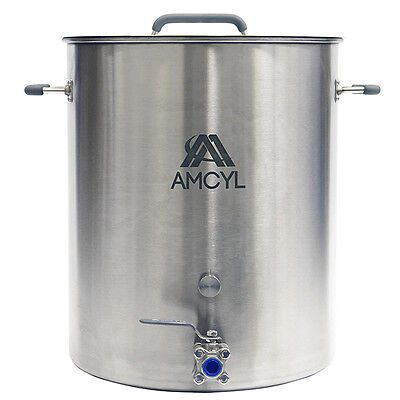 20 Gallon Stainless Steel Brew Kettle & Stock Pot - Valve & Port - Ships Free