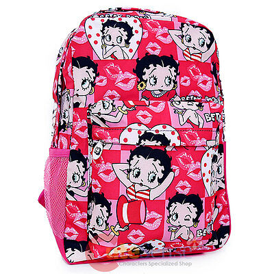 "Betty Boop School Backpack Cartoon All Over Print 16"" Large Book Bag Pink Kiss"