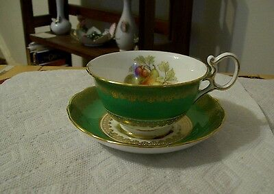 Vintage Hammersley & Co Green White Tea Cup And Saucer, Fruit & Gold Scolls