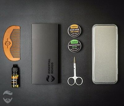 Essential XL Grooming Kit - CHOOSE SCENT Beard Balm, Wax, Oil, Comb and Tin [4A]