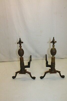 Exquisite Pair of Chippendale Style Bronze Andirons, 19th Century