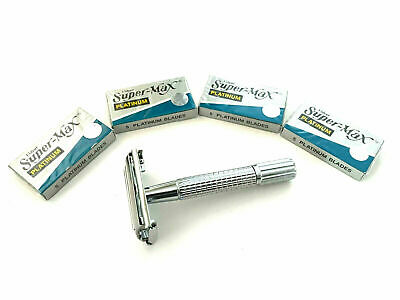 Men's Traditional Classic Double Edge Chrome Shaving Safety Razor + 20 Blades