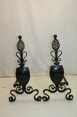 Gorgeous Pair of Scroll Wrought Iron Andirons With Twisted Iron