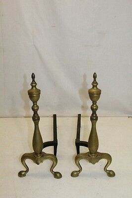Antique Pair of Regency Style Brass Andirons, Fireplace, 19th Century