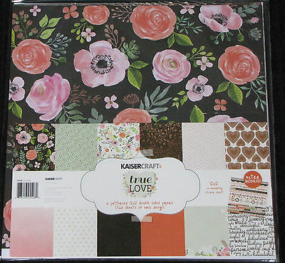 "Kaisercraft 'TRUE LOVE' 12x12"" Paper Pk + Stickers Love/Flowers *SPECIAL PRICE*"
