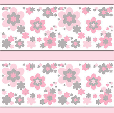 Pink Grey Gray Flower Wallpaper Border Wall Decals Girl Floral Nursery Stickers
