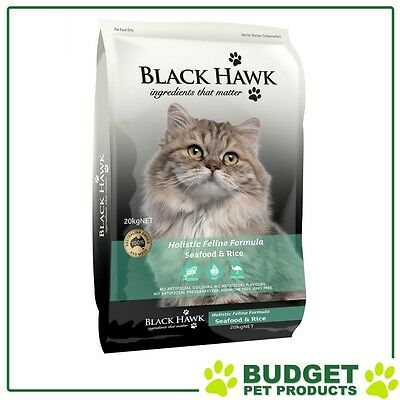 Black Hawk Holistic Feline Dry Seafood And Rice For Adult Cats 20kg