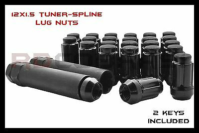 20pc 12x1.5 Black Closed End 6 Spline Lug Nuts + 2 Keys Fits Honda & Acura