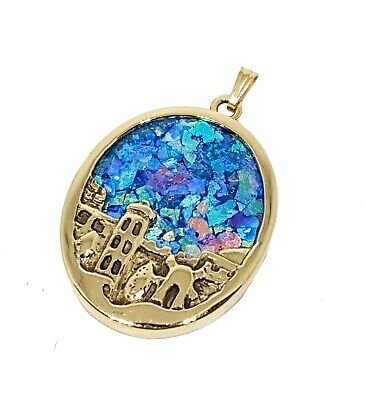 14k Gold 3D Roman Glass Jerusalem  Pendant Necklace